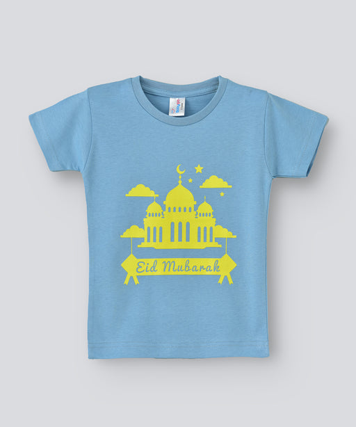 Babyqlo Eid Mubarak Tshirt for boys and girls - Sky Blue