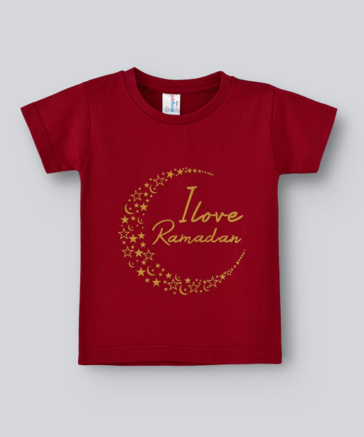 Babyqlo I love ramadan Tshirt for boys and girls - Maroon