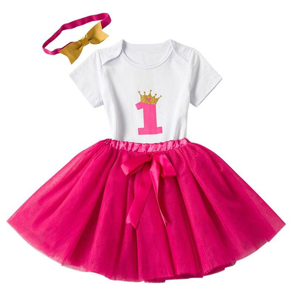 1st Birthday White & Pink 3 Pc Party Set for Little Girls