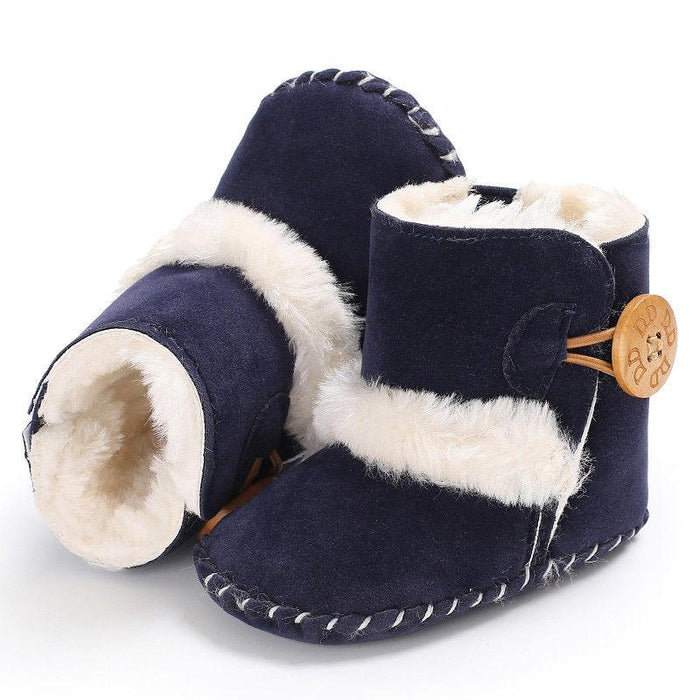 Plush Slipon Shoe with Button for Infants - shopfils.com