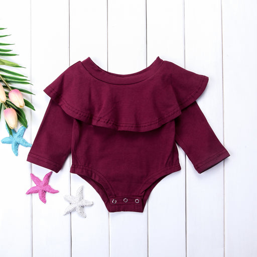 Ruffle Detail Onesie Romper for Little Girls - Maroon - shopfils.com