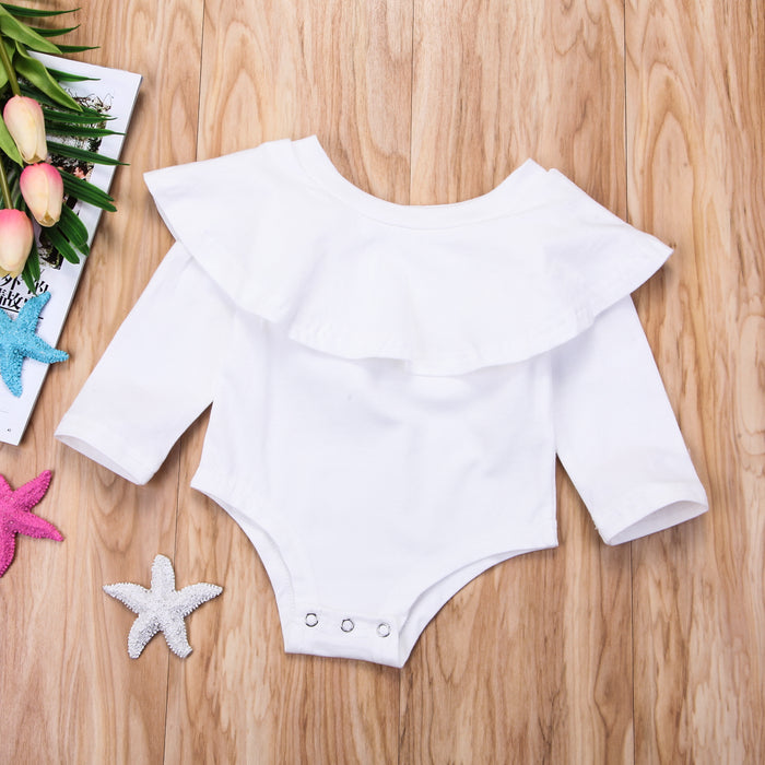Ruffle Detail Onesie Romper for Little Girls - White - shopfils.com