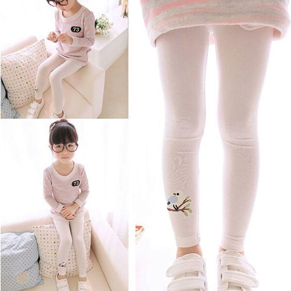 Bird Embroidery - Stretchable Leggings for Girls