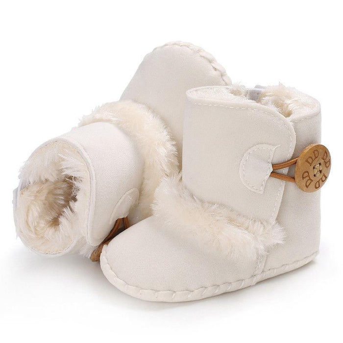 Plush Slip on Soft Shoe with Button for Infants Babies - shopfils.com