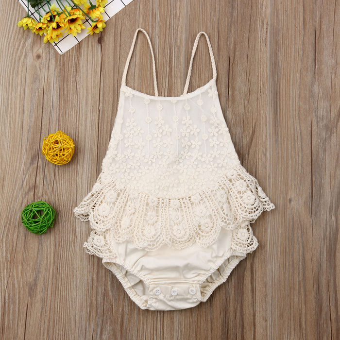 Off White Macrame Romper for Baby Girls - shopfils.com