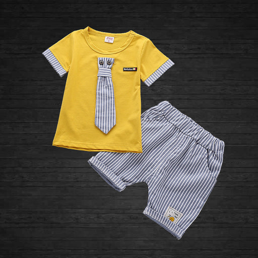 Tee with Tie and Short - 2pcs  Set for Boys - shopfils.com
