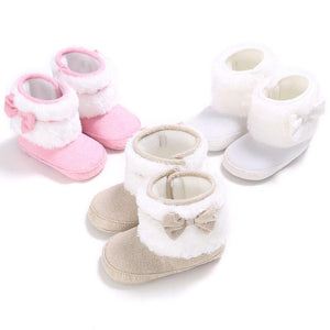 Plush Slip on Shoe with Bow for Infants