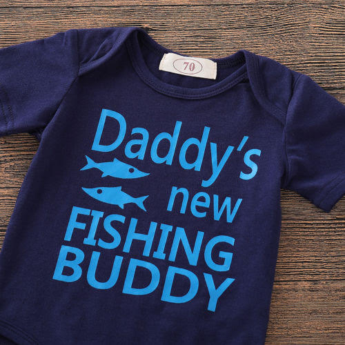 Daddy's new fishing buddy printed Top and Bottom Set with cap for Little Boys - shopfils.com