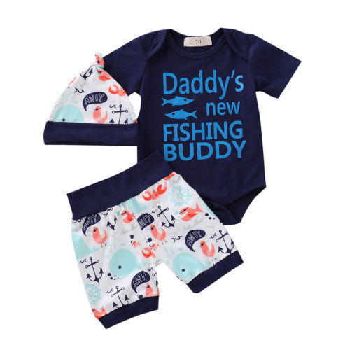 Daddy's new fishing buddy printed Top and Bottom Set with cap for Little Boys