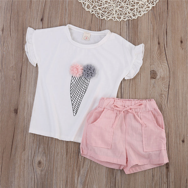 2 Pc Top and Plain Shorts Set for Girls
