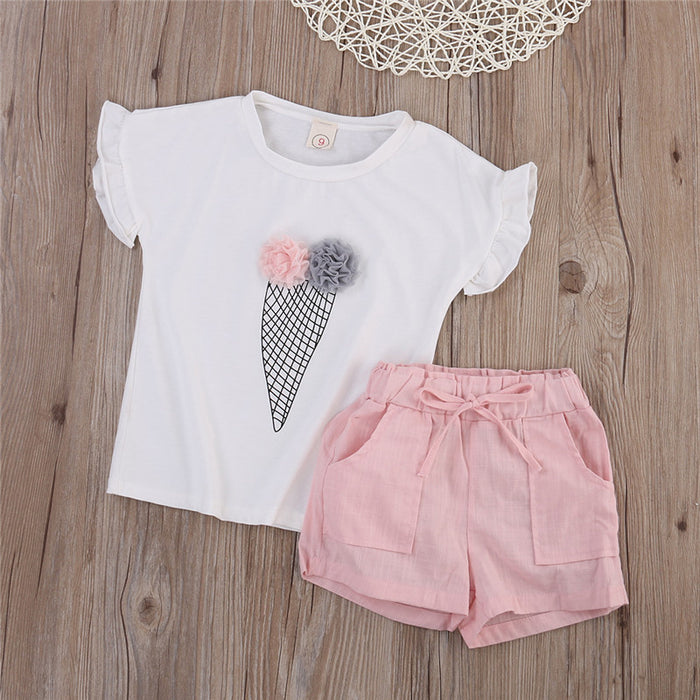 2 Pc Top and Plain Shorts Set for Girls - shopfils.com