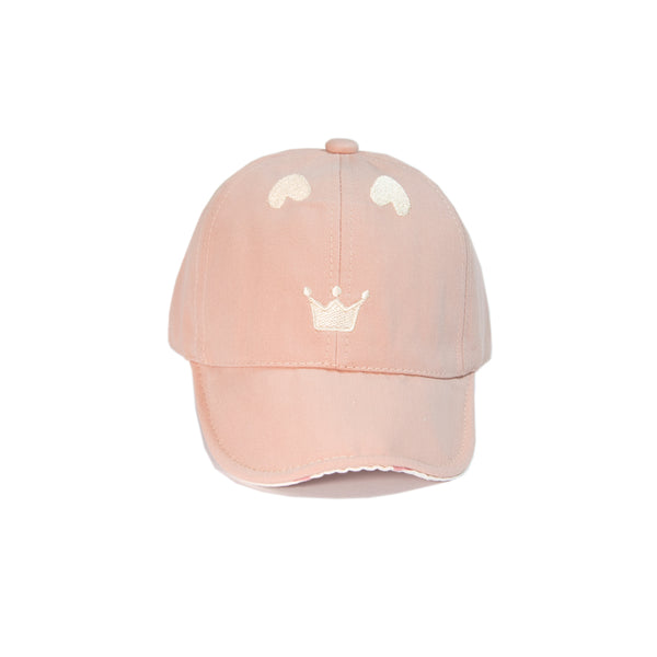 Babyqlo Crown Embroidered Cap for Little Girls - Pink