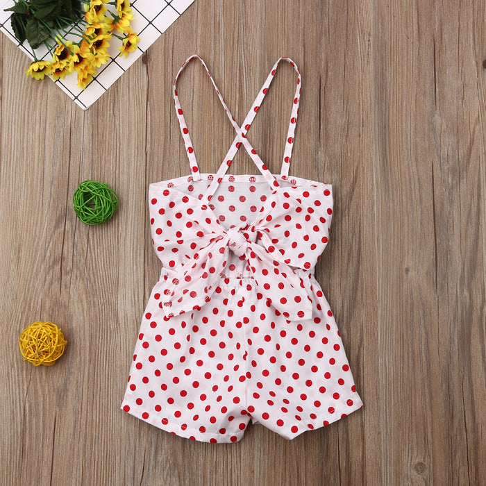 Polka Printed spaghetti Jumpsuit with Back-tie closure for Little Girls - shopfils.com