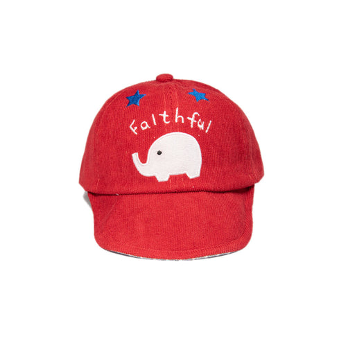 Babyqlo Elephant print cap for little Girls - Red
