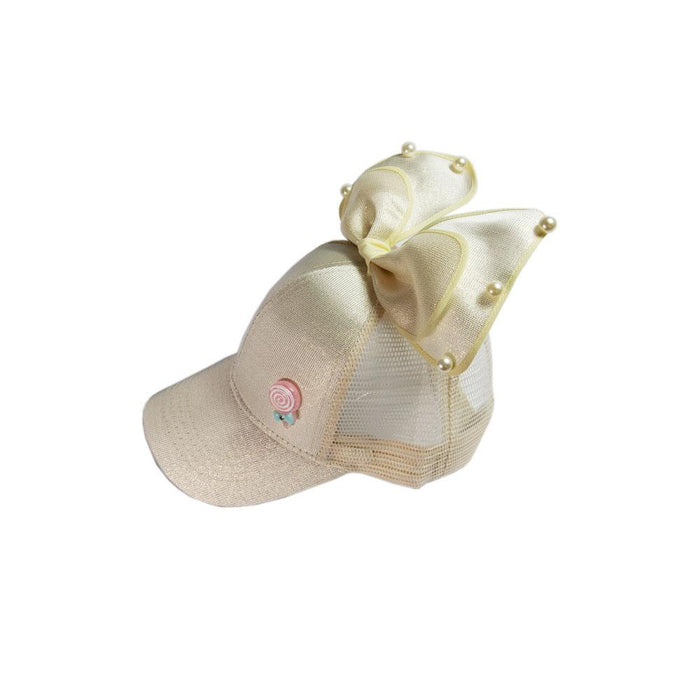 Babyqlo Big bow feature cap for little girls - Golden
