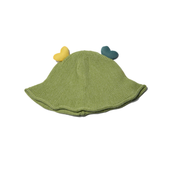 Babyqlo Sun Hat with applique detail for little girls - green