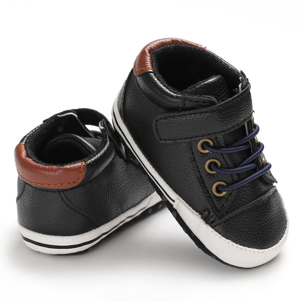 PU Leather Shoes with Laces and Hook and Loop Closure for Babies - Black