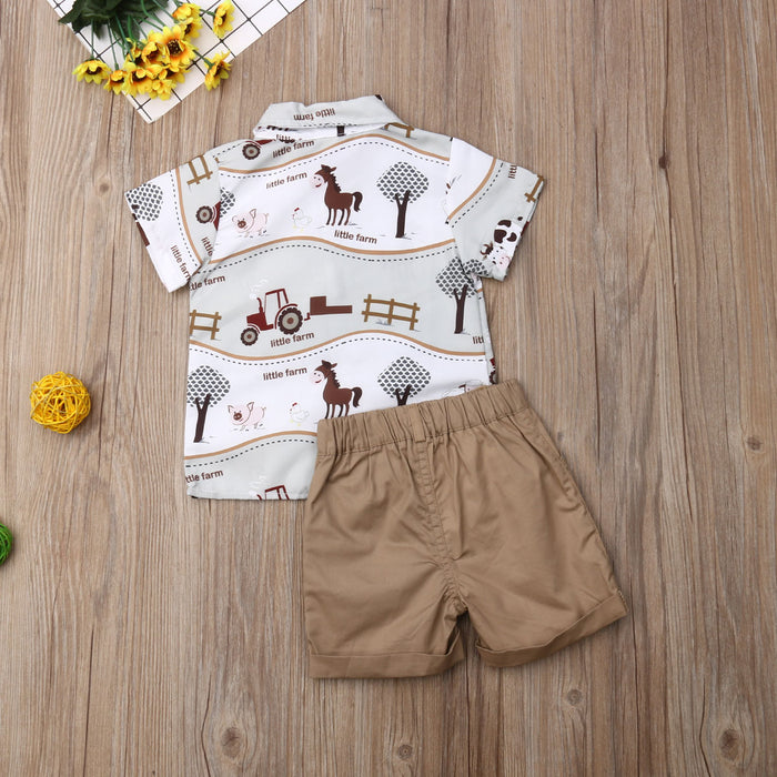 Little Farm - Printed Shirt and Shorts Set for Boys - shopfils.com
