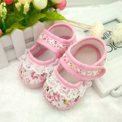 Flower Printed Newborn Baby Non-slip Footwear for Little Girls - shopfils.com