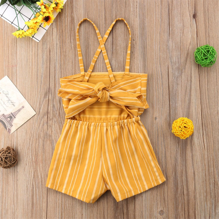 Striped spaghetti Jumpsuit with Back-knot Closure for Little Girls - shopfils.com