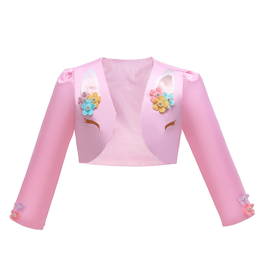 Babyqlo Unicorn Style Full Sleeve Crop Jacket with Floral Features - Pink