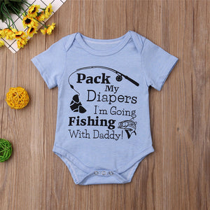 Baby Going fishing with Daddy Cute Quote Printed Romper For Little Boys