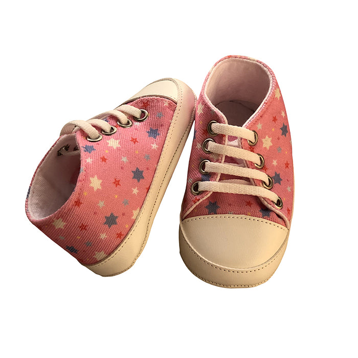 Star Printed Soft Bottom Crib Shoes for Little Ones - Pink - shopfils.com