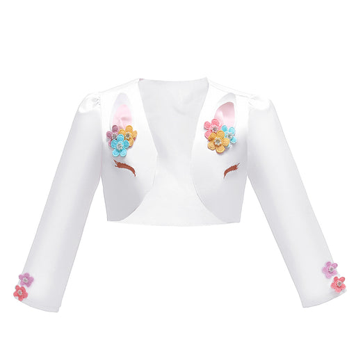 Babyqlo Unicorn Style Full Sleeve Crop Jacket with Floral Features - White