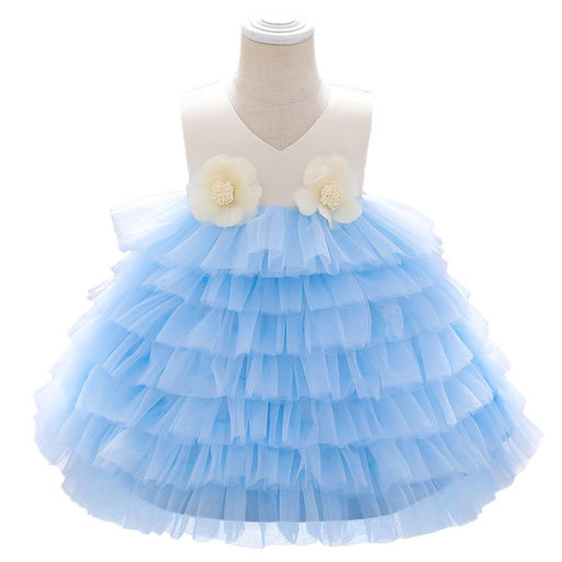 Babyqlo Flower Embellished Sleeveless Tiered Ruffle Party dress for Girls - Sky