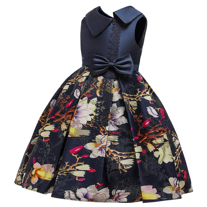 Babyqlo Floral Pattern Sleeveless Party dress for Girls - Blue