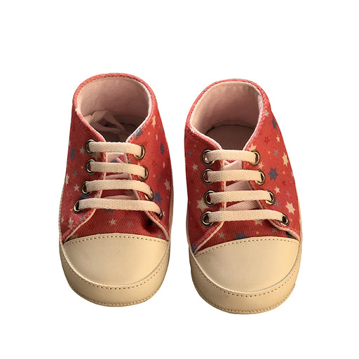 Star Printed Soft Bottom Crib Shoes for Little Ones - Red - shopfils.com