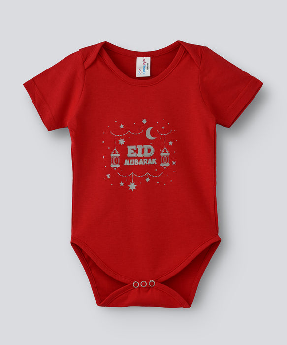 Babyqlo Eid Mubarak printed bodysuit for unisex - Red