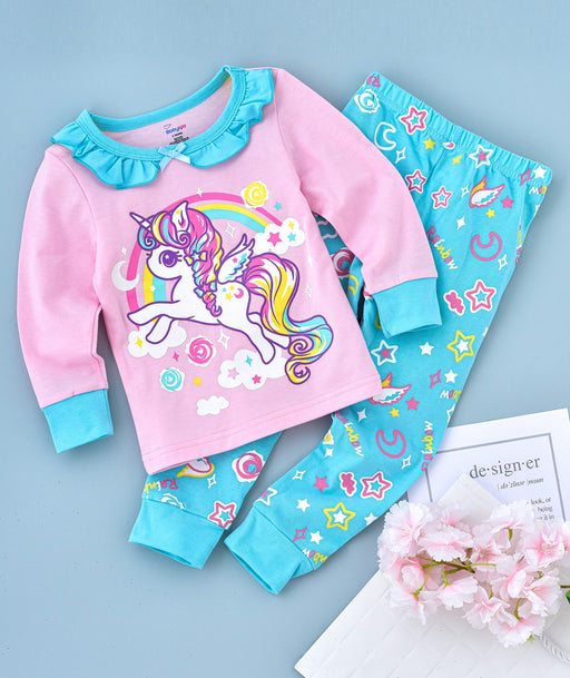 Flying Unicorn Printed Glow in the Dark Nightwear - Pink Blue