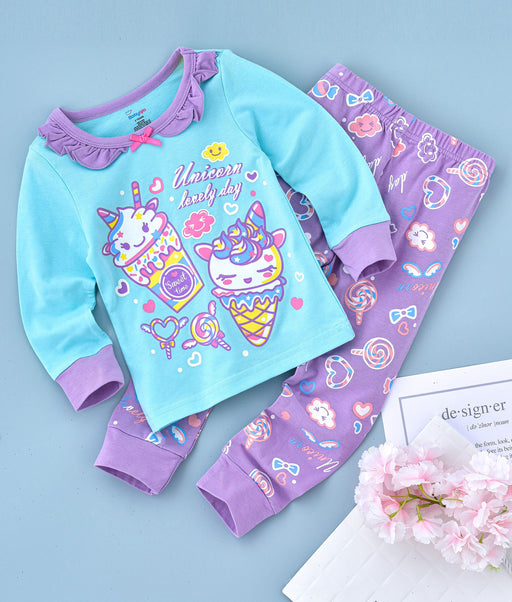 Character Printed Glow in the Dark Nightwear - Blue Purple