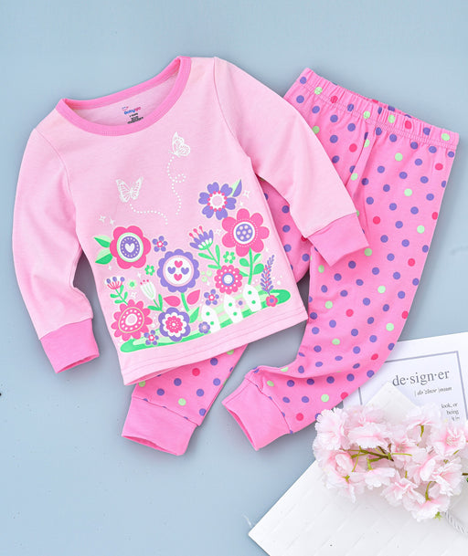 Flowers Printed Glow in the Dark Nightwear - Pink