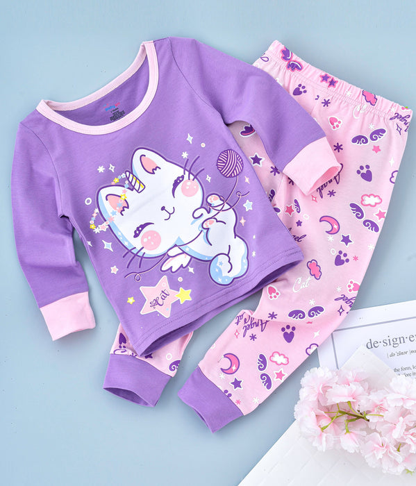 Kitty Printed Glow in the Dark Nightwear - Purple Pink
