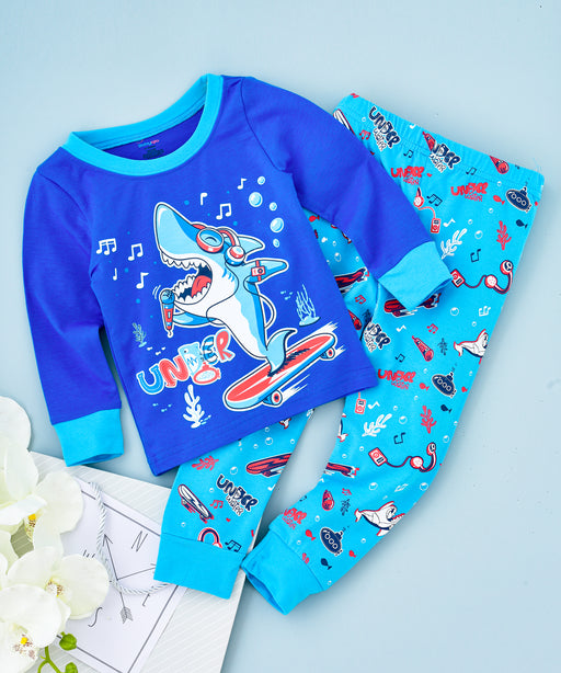 Dancing Shark Printed Glow in the Dark Pajama Sets Blue
