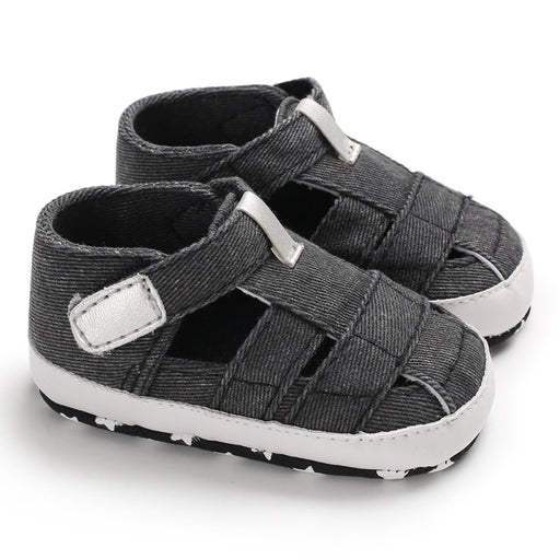 Denim Slip On Shoes with Hook and Loop Closure for Babies - Black - shopfils.com