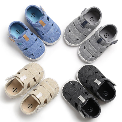 Denim Slip On  Shoes with Hook and Loop Closure for Babies - Grey - shopfils.com