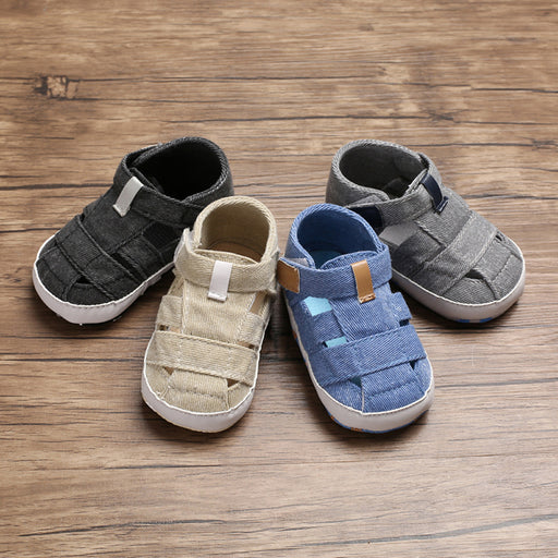 Denim Slip On  Shoes with Hook and Loop Closure for Babies - Beige - shopfils.com