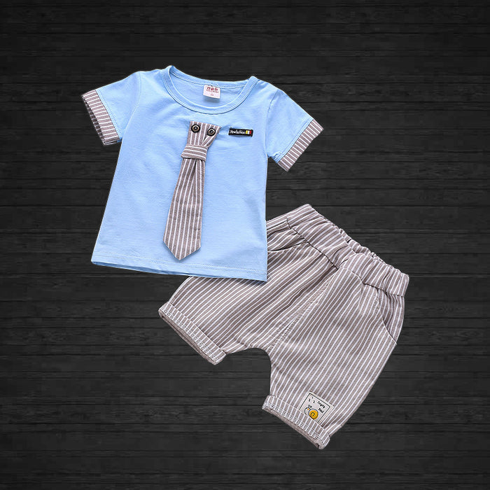 Tee with Tie and Short - 2pcs  Set for Boys