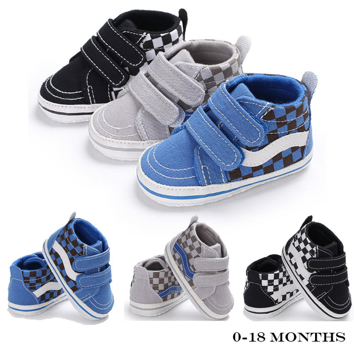 Check Slip-On Denim Shoes with Hook and Loop Closure for Babies - Grey - shopfils.com