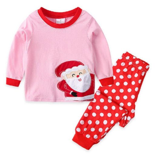 Santa Printed Christmas pink pajama sets for girls