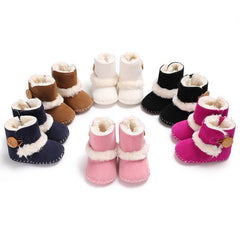 Plush Slip on Soft Shoe with Button for Infants Babies