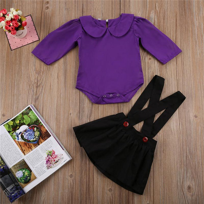 Peter Pan Collor Top & Jumpsuit Skirt Set for Baby Girls - shopfils.com