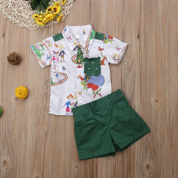 Christmas Shirt and Short Set for Boys - Green