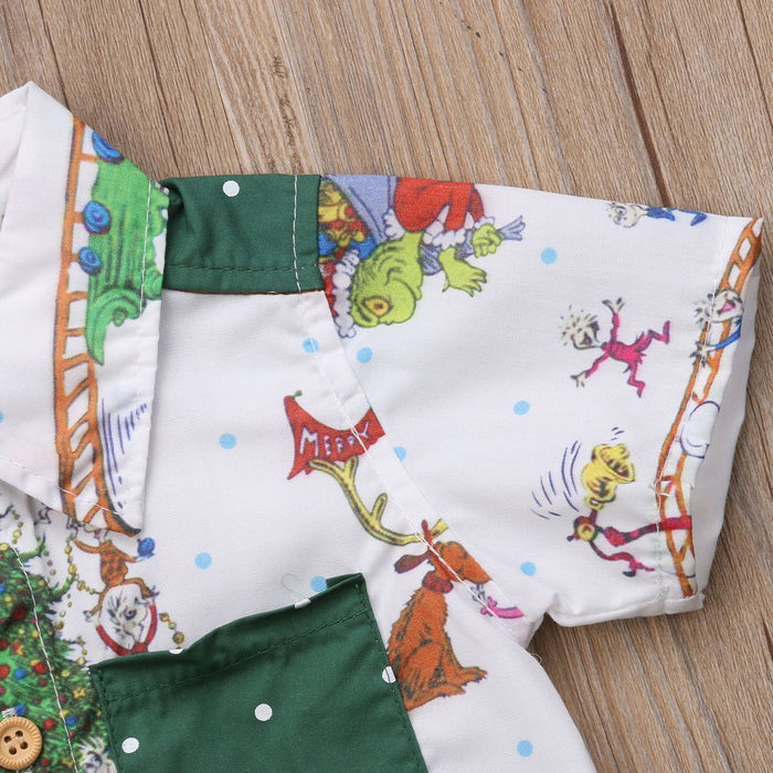Christmas Shirt and Short Set for Boys - Green - shopfils.com