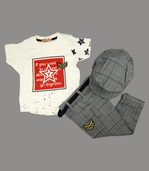 Stylish Tee Pant and Cap Set for Boys