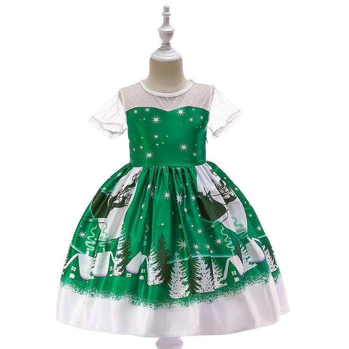 Beautiful Green Christmas tree and sledge Printed knee length dress for Baby Girls - shopfils.com