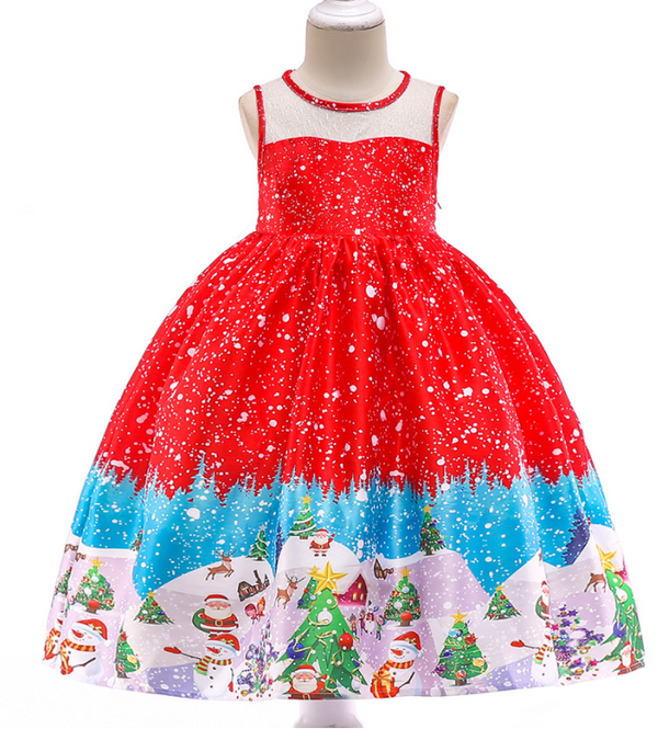 Beautiful Red Dress with santa and tree prints knee length dress for Baby Girls